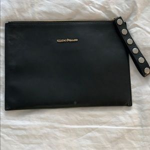 Studio Pollini black leather clutch bag